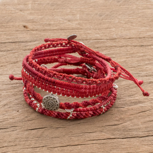 Glass Beaded Macrame Bracelets in Red Set of 7 'Boho Histories in Red'
