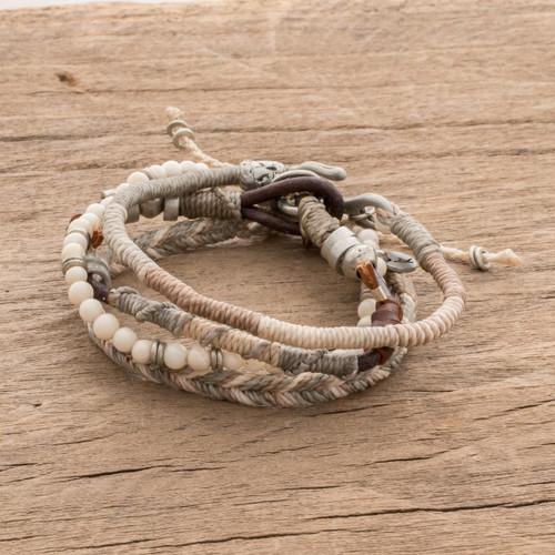 Unisex Beige Macrame Bracelets Set of 4 'Maya Highlands'