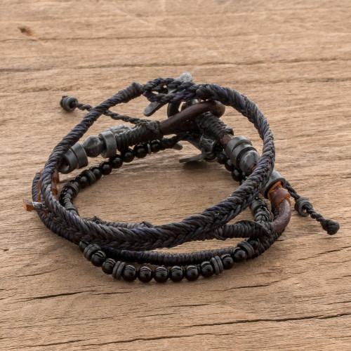 Set of 4 Hand Crafted Macrame Bracelets 'Rugged Highlands'