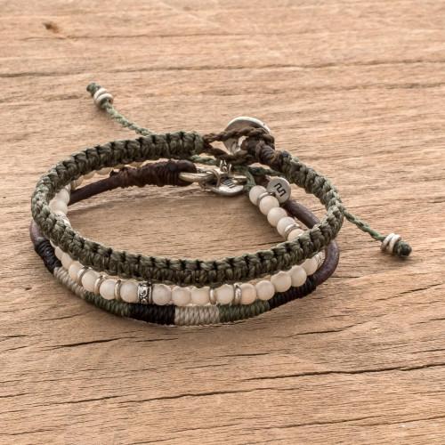 Neutral Tones Macrame Bracelets from Guatemala Set of 3 'Highland Elements'