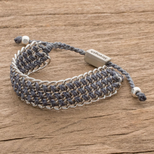 Hand-Knotted Wristband Bracelet in Cadet Blue with Metal 'Bold Mail in Cadet Blue'