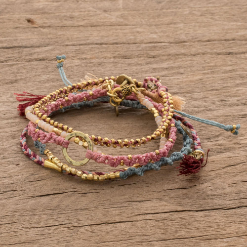 Glass Beaded Macrame Bracelets in Various Colors Set of 5 'Powerful Friendship'