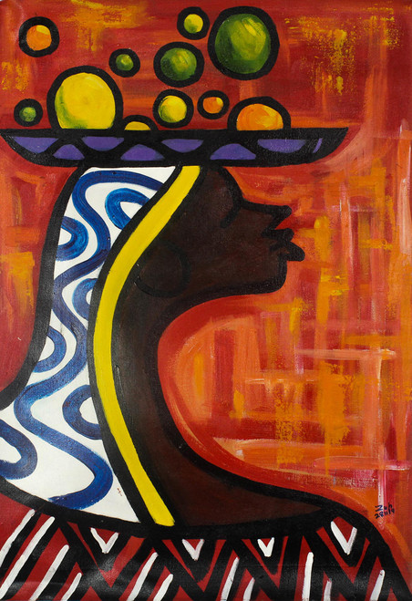 Expressionist Painting of an African Woman from Ghana 'Strength of a Woman'