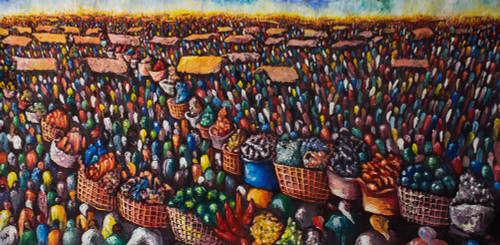 Acrylic on Canvas Large Market Scene Painting 'Market Profile'