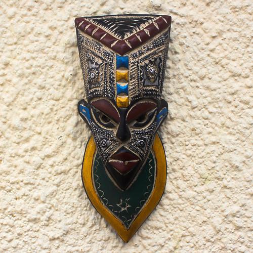 Colorful Wood and Aluminum African Mask 'Sarrki I'