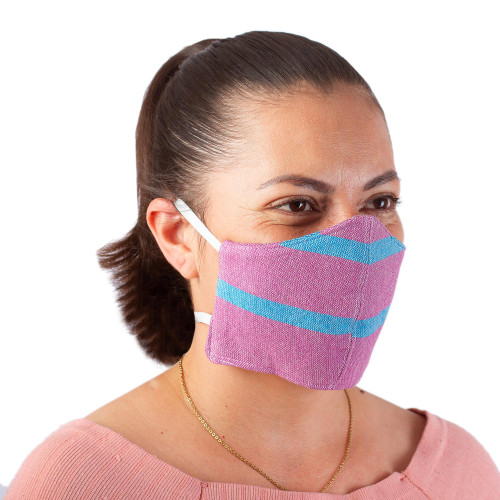 2 Handwoven Lilac and Teal Cotton Headband Face Masks 'Zapotec Dawn'