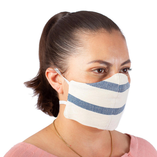 2 Handwoven Ivory and Blue Cotton Elastic Band Face Masks 'Quiet Serenity'