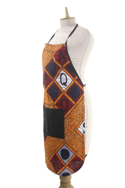 Alphabet Apron with Pocket in Traditional African Colors 'A, B, C'