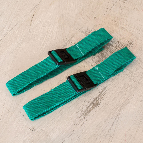 2 Adjustable Emerald Green Cotton Face Mask Straps 'Emerald Green Comfort'