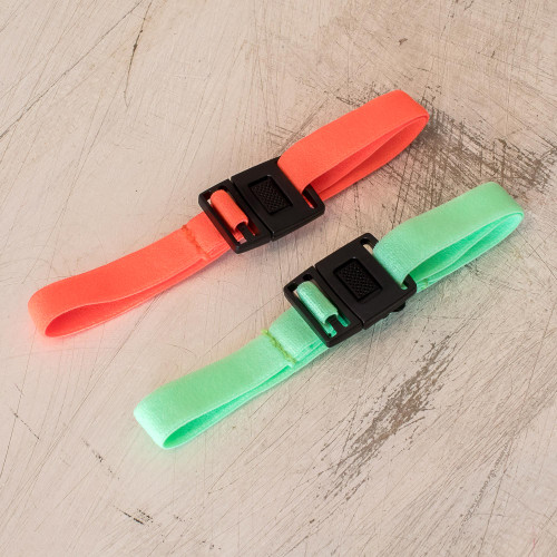 Elastic Orange and Mint Green Face Mask Straps Pair 'Orange and Mint Stretch'
