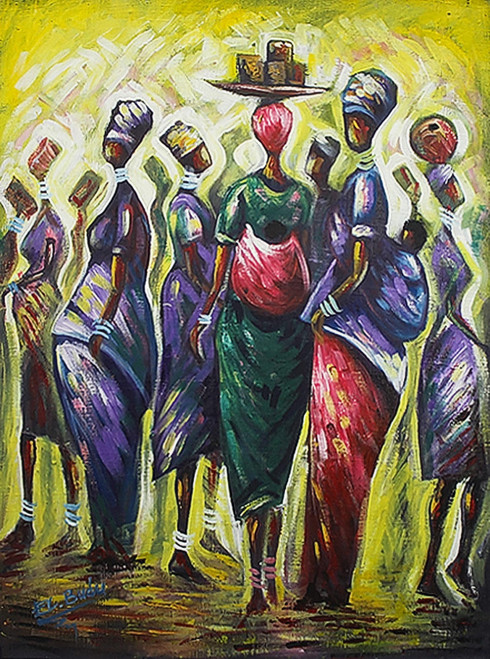 Original Colorful Painting of African Women 'Africa Mothers Pride'