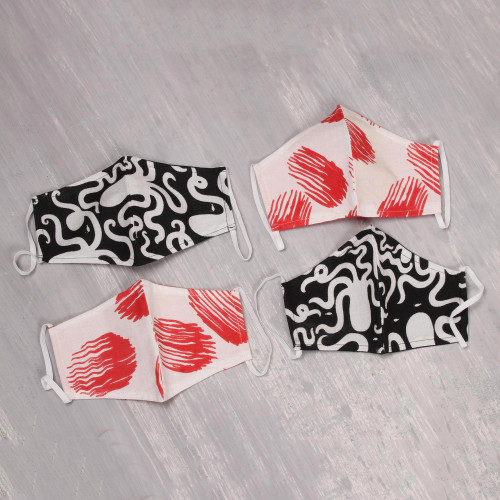 4 White w Red  w Black 2-Layer Cotton Face Masks 'Bold Contrasts'