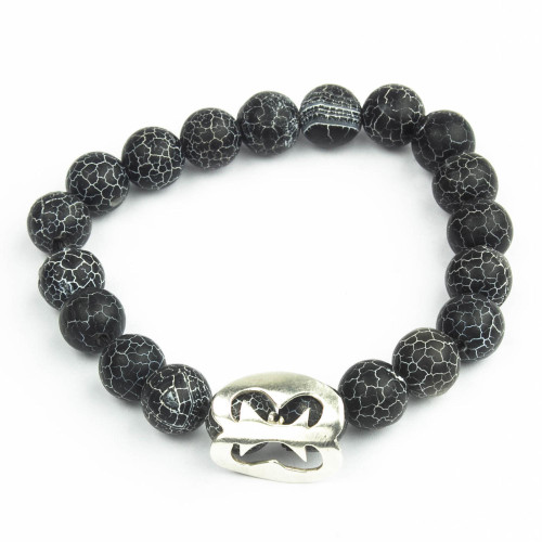 Black Agate African Adinkra Unity Bracelet from Ghana 'Together With You'