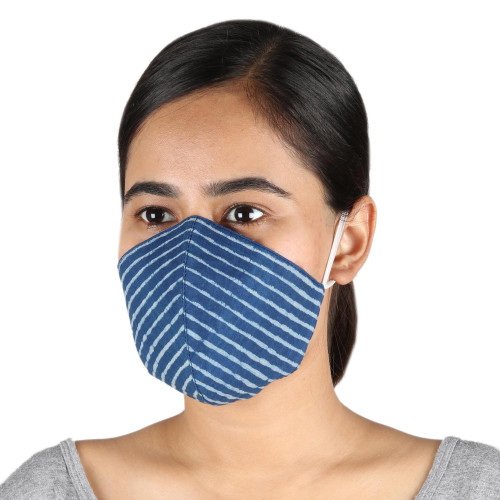 2 Lapis Blue 2-Layer Contoured Cotton Elastic Loop Face Mask 'Royal Style'
