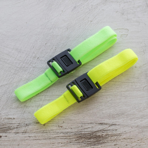 Elastic Neon Yellow and Green Face Mask Straps Pair 'Neon Green and Yellow Stretch'