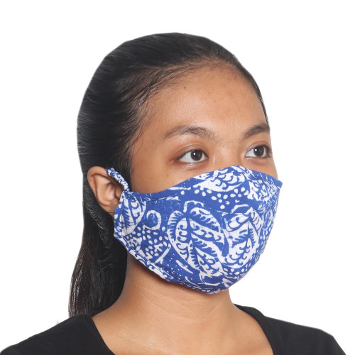 3 Blue and White Rayon Batik Face Masks Crafted in Bali 'Blue Island Foliage'