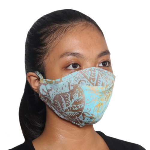 3 Blue and Brown Rayon Batik Face Masks Crafted in Bali 'Island Sky'