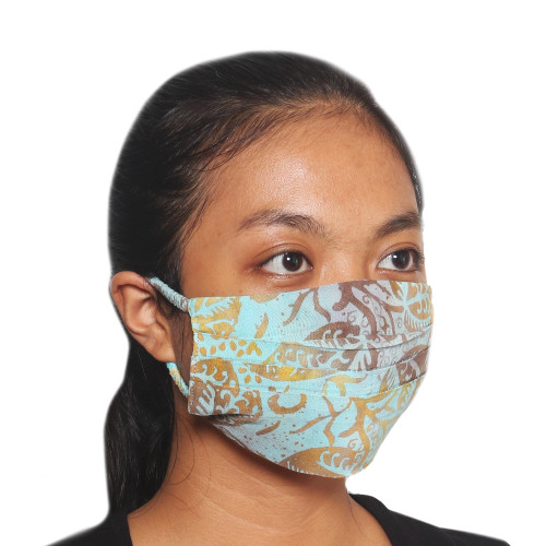 3 Balinese Blue and Brown Pleated Rayon Batik Face Masks 'Pleated Island Sky'