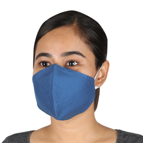 2 Steel Blue Cotton Double-Layer Ear Loop Face Masks 'Business Blue'