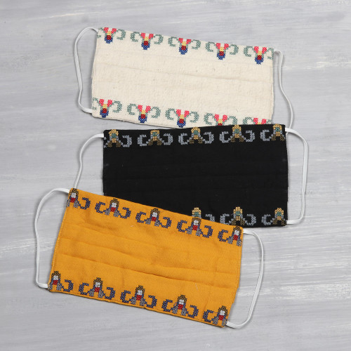 3 Cross Stitch Embroidery Cotton 3-Layer Pleated Face Masks 'Cross Stitch Garlands'