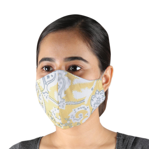 2 Double Layer Pale Yellow Print Cotton Face Masks 'Sunny Charm'