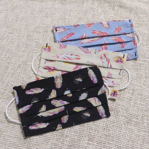 3 Single Layer Pleated Cotton Print Elastic Loop Face Masks 'Free as a Feather'