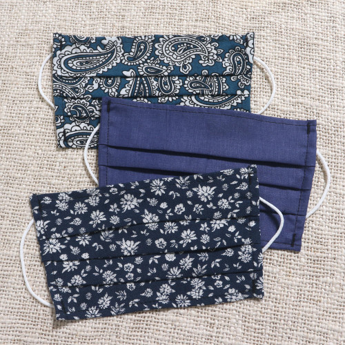 3 Navy Blue Print Single Layer Cotton Elastic Loop Face Mask 'Versatile Blues'