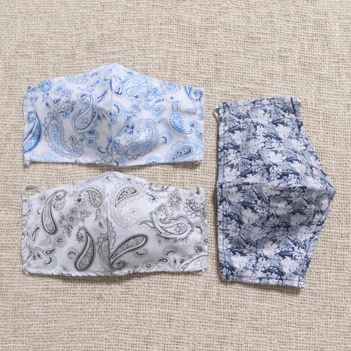 3 Contoured Blue  Grey Print Double Cotton Masks 'Pretty Prints and Paisley'