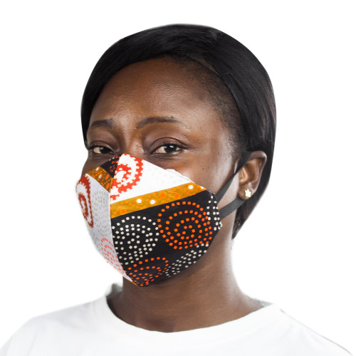 Modern African Abstract Print 2-Layer Cotton Ear Loop Mask 'Royal Africa'