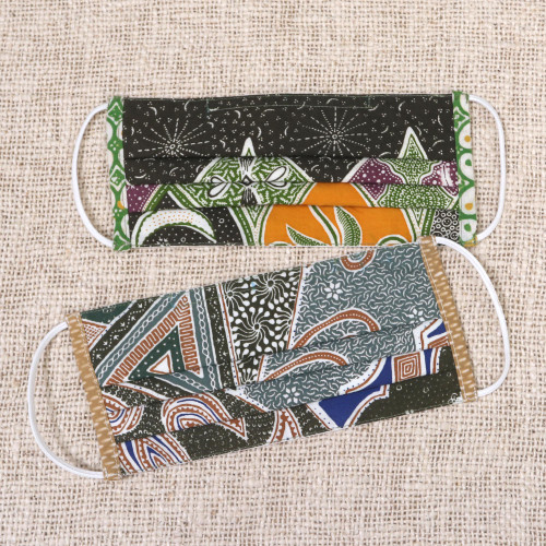Cotton Batik Print Pleated Nose Clip Face Masks from Bali 'Island Nights'