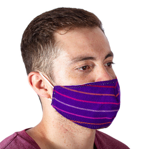 2 Purple Striped Cambaya Cloth Lined Face Masks 'Imperial Purple'