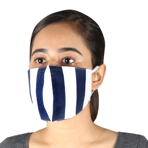 2 Navy Blue  White Striped 2-Layer Cotton Ear Loop Masks 'Bold Navy Stripes'
