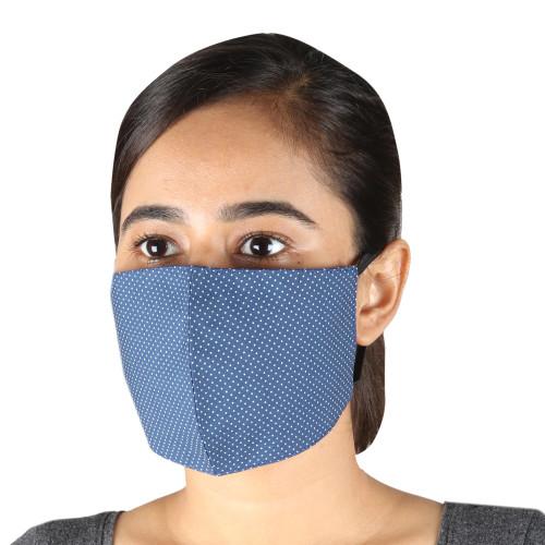 2 Blue Polka Dot Cotton Face Masks with Ear Loops 'Petite Polka Dots'