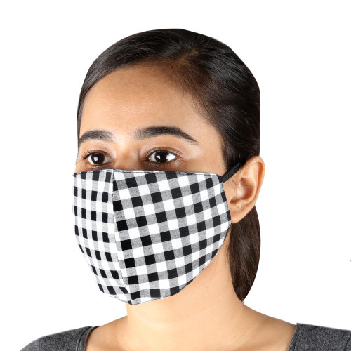 3 Black  White Cotton Gingham Masks with Ear Loops 'White and Black Gingham'