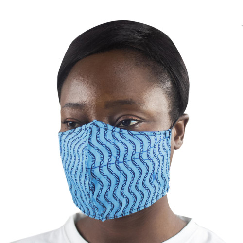 2 Handmade African Print Cotton Tie-On Family Pack Masks 'Blue Busua Waves'