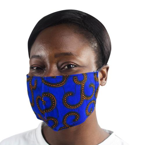 2 Sapphire Blue African Print Cotton Tie Family Pack Masks 'Sapphire Vines'
