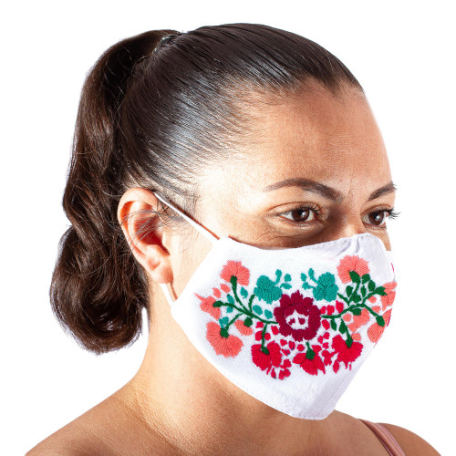 Reusable Floral Embroidered Cotton Face Mask 'Summer Roses'