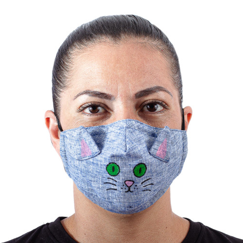 Blue Cotton Chambray 3-Layer Ear Loop Cat Face Mask 'Chambray Kitty Cat'
