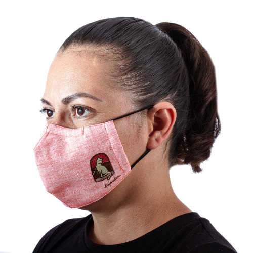 Hand-Painted Cotton Chambray Ear Loop 3-Layer Cat Mask 'Pink Chambray Cat'