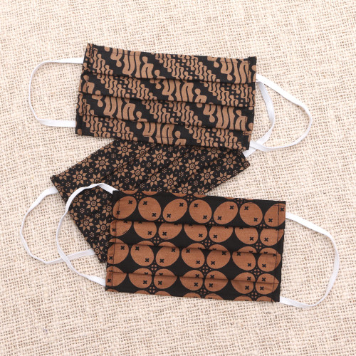 3 Black and Brown Cotton Pleated 2-Layer Face Masks 'Bold Black and Honey Brown'