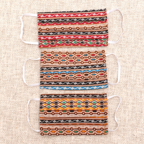 3 Multicolor Cotton Print Pleated 2-Layer Face Masks 'Busy Colors'