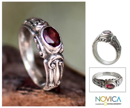 Garnet Solitaire Ring from Indonesia 'Red Passion'
