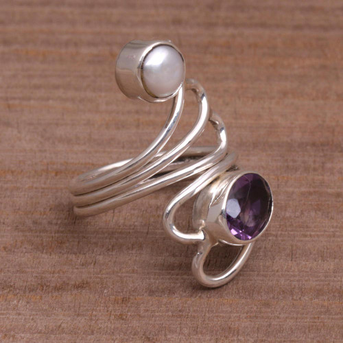 Amethyst and Pearl Ring 'Pure in Heart'