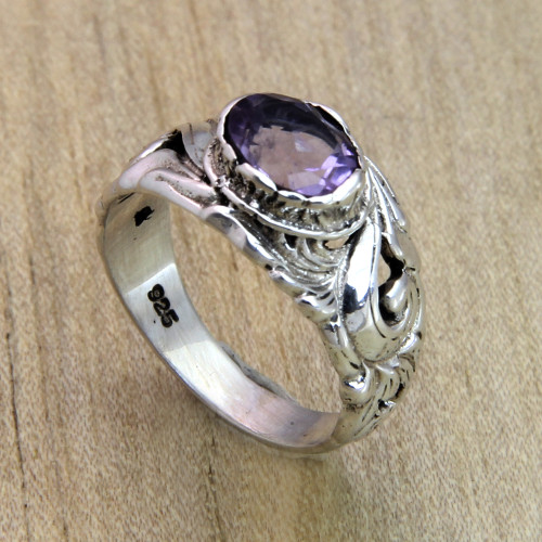 Floral Sterling Silver and Amethyst Ring 'Feminine Charm'