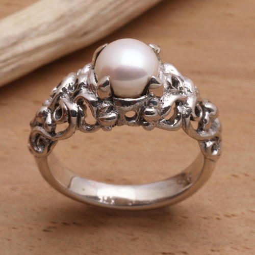 Hand Made Sterling Silver and Pearl Ring 'Majesty'