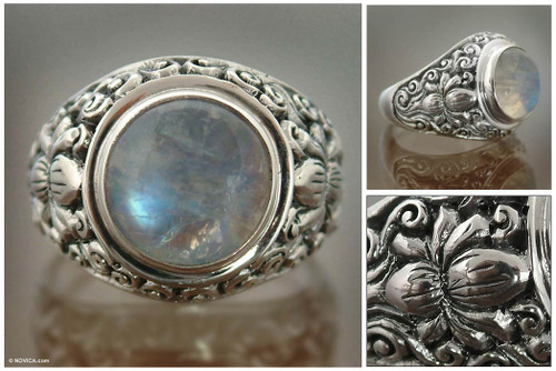 Rainbow Moonstone and Sterling Silver Ring from Bali 'Sacred Lotus'