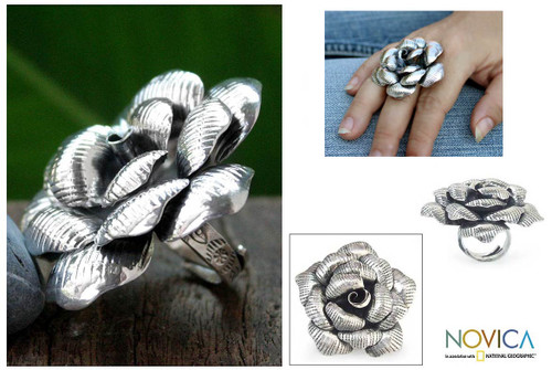 Sterling Silver Flower Cocktail Ring 'Queen Rose'