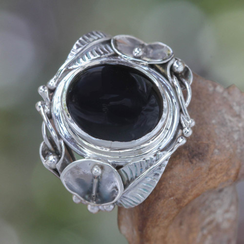 Women's Floral Sterling Silver and Onyx Cocktail Ring 'Nest of Lilies'