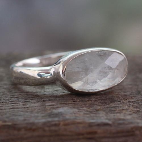 Sterling Silver Rainbow Moonstone Ring 'Rainbow Mist'