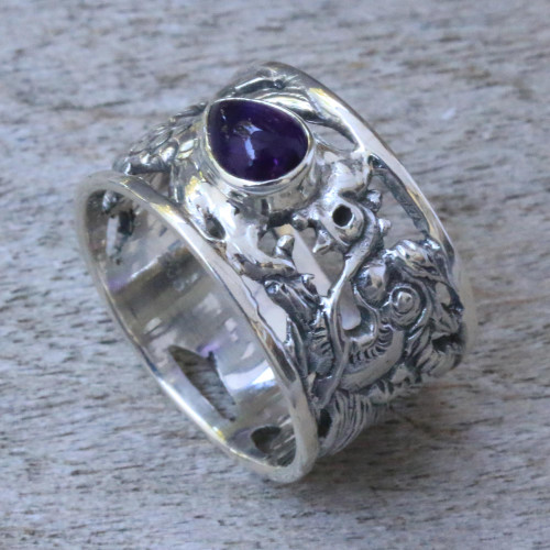 Sterling Silver and Amethyst Band Ring 'Dragon Guardian'